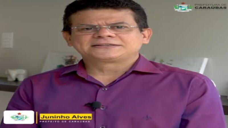 Prefeito de Caraúbas Juninho Alves agradece através de vídeo emendas enviadas pelo senador Styvenson Valentim