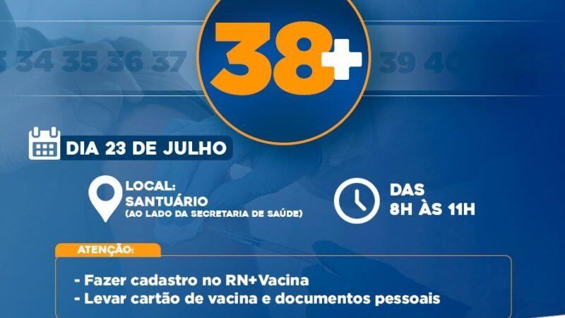 Prefeitura de Caraúbas vacina nesta sexta-feira(23) o público em geral com 38 anos ou mais